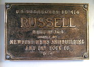Original plaque from USS Russell DD 414