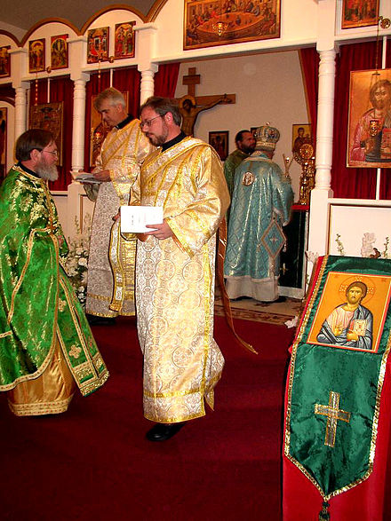 Clergy at All Saints' Antiochian Orthodox Church, Raleigh, United States (L to R): priest, two deacons, bishop. Orthodox clergy.jpg