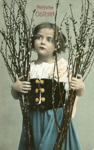 Pussy willow - Easter postcard (Germany)