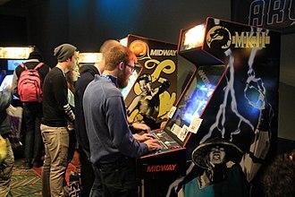 Mortal Kombat II - A vintage Mortal Kombat II arcade cabinet (with a Raiden artwork) at PAX South 2015