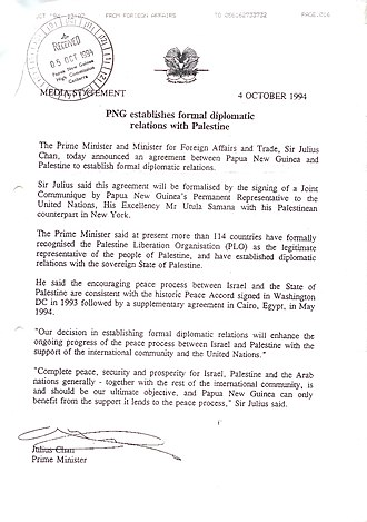 International recognition of the State of Palestine - Image: PNG statement Recognising Palestine