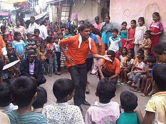Theatre of India - A street play (nukkad natak) in Dharavi slums in Mumbai.