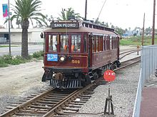 Waterfront Red Car In San Pedro California No 501 Pe Huntington Type Wooden Streetcar Is A Replica Operated On Heritage Tracks