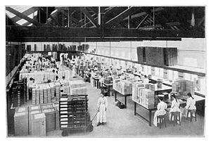 Welfare capitalism - The Cadbury factory at Bournville, c.1903, where workers worked in conditions that were very good for the time
