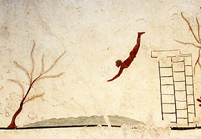 fresco painting showing a nude youth diving from a wall or tower into water below