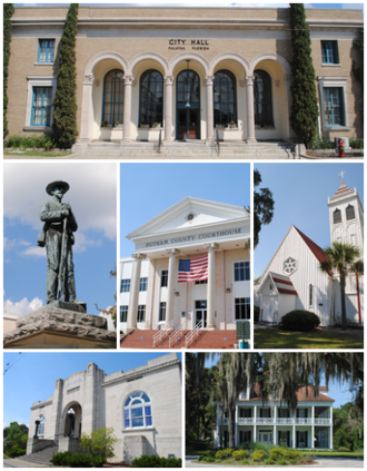 Palatka, Florida - Images top, left to right: City Hall, Confederate Memorial, Putnam County Courthouse, St. Mark's Episcopal Church, Larimer Memorial Library, Bronson-Mulholland House