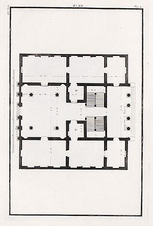 Palazzo Antonini, Udine - Palazzo Antonini, floor plan. Drawing by Ottavio Bertotti Scamozzi, 1781.
