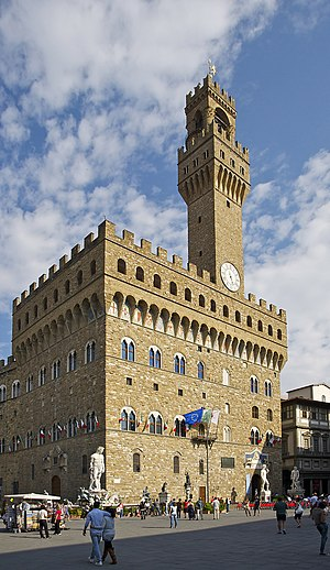 Français : Le Palazzo Vecchio à Florence, vu d...