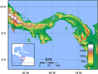 Outline of Panama - An enlargeable topographic map of Panama