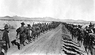 6th Infantry Regiment (United States) - Members of the 6th and 16th marching homewards after the end of the Mexican Expedition
