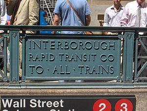 Wall Street (IRT Broadway–Seventh Avenue Line) - Image: Panneau IRT