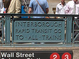 Wall Street (IRT Broadway–Seventh Avenue Line) - Image: Panneau IRT