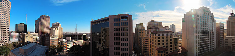 Downtown San Antonio in 2012 Panorama from hotel in San Antonio.jpg