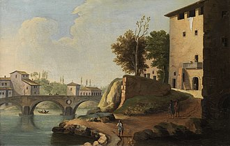Paolo Anesi - Landscape of Rome with the Ponte Sisto by Paolo Anesi
