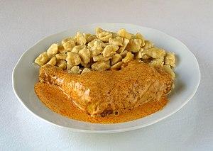 Spätzle - Hungarian chicken paprikash with spätzle (Hungarian nokedli)