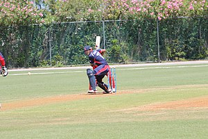 ICC ODI Championship - Nepal Captain Paras Khadka batting during the 2013 ICC World Cricket League Division Three in Bermuda