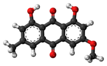 Ball-and-stick model of the parietin molecule