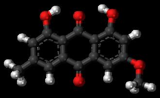 Parietin - Image: Parietin molecule ball