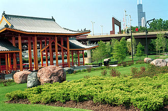 Parks in Chicago - The riverfront pavilion in Ping Tom Memorial Park.