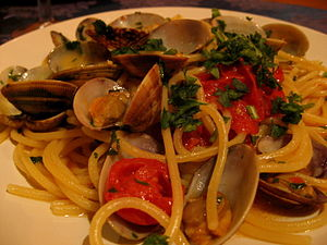 Pasta vongole in Naples, Italy.