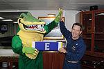 Peleliu mascot presents Capt. Deehr 'Battle E' 130315-N-HU377-003.jpg