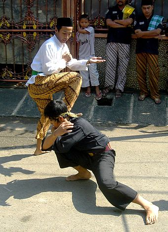 A demonstration of Pencak Silat, a form of martial arts Pencak Silat Betawi 1.jpg