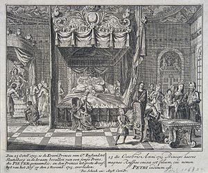 Peter II of Russia - The birth of Peter II of Russia, by Peter Schenk (1715)