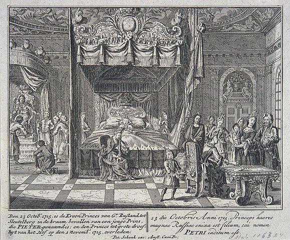 Петер Шенк. Сцена рождения царевича Петра Алексеевича (1715)