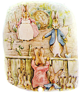 Peter Rabbit - Grown up Peter in his nursery garden, from The Tale of The Flopsy Bunnies