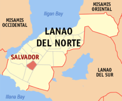 Map of Lanao del Norte with Salvador highlighted