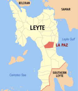 Map of Leyte with La Paz highlighted