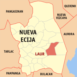 Map of Nueva Ecija with Laur highlighted