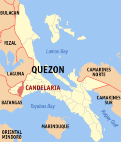 Map of Quezon showing the location of Candelaria