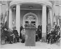 Photograph of Secretary of the Interior Julius Krug speaking at the dedication of Franklin D. Roosevelt's home at... - NARA - 199359.tif