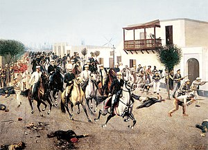 Nicolás de Piérola - Piérola and his followers enter Lima in (1895). Painting by Juan Lepiani.