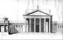 A neoclassical portico flanked by wings