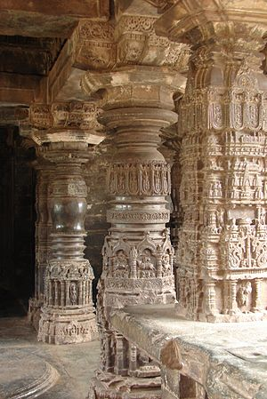 Gadag-Betageri -  Gadag style Ornate pillars at Sarasvati Temple, Trikuteshwara temple (complex) at Gadag