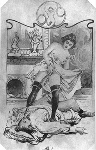 Urolagnia - A woman in stockings raising her skirt and urinating into the mouth of a man