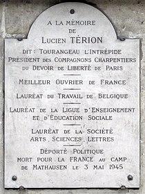 Plaque Lucien Térion, 10 rue Mabillon, Paris 6.jpg