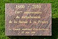 Plaque en mémoire du 150ᵉ anniversaire du rattachement de la Savoie à la France - 2017-08-27.jpg