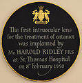 Plaque for Harold Ridley's first intraocular lens at St Thomas' Hospital.jpg
