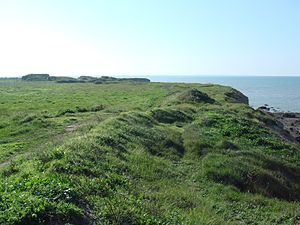 La Pointe du Chay - La Pointe du Chay, seen from the top, looking south. On the left are the remnants of a World War II era German bunker.