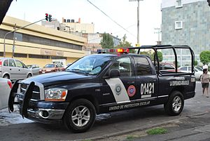 Law enforcement in Mexico City - School Protection police vehicle