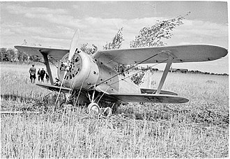 Polikarpov I-153 - I-153 captured by Finnish forces after a forced landing.  Photo taken in June, 1941