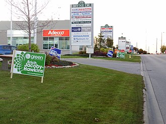 Barrie (electoral district) - Signs for the major parties line the street in south Barrie prior to the 2008 federal election.