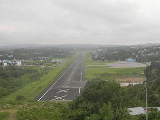 Veer Savarkar International Airport - Port Blair Airport runway from Jogger's park, Port Blair.