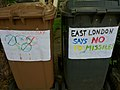 Posters on wheelie bins against the siting of missiles in East London during the 2012 Summer Olympics, Leytonstone, London - 20120516.jpg