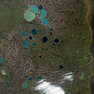 Kettle (landform) - Kettle lakes in Yamal Peninsula (Northern Siberia), adjacent to the Gulf of Ob (right). The lake colors indicate amounts of sediment or depth; the deeper or clearer the water, the bluer the lake