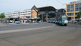 Potsdam Hauptbahnhof - Station forecourt south of the tracks with bus and tram stop and water tower