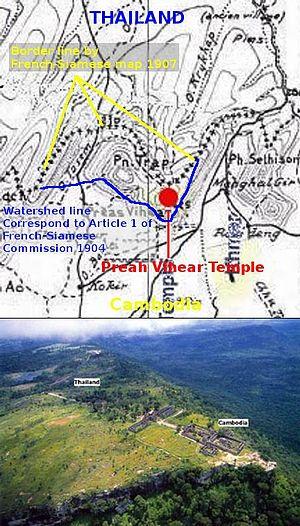 Dângrêk Mountains - Prasat Preah Vihear and border lines on dispute